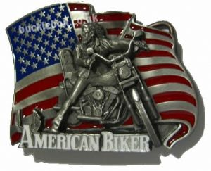 AMERICAN BIKER Belt Buckle + display stand